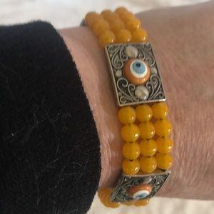 """EVIL EYE"" Silver Filigree Beaded Bracelet"